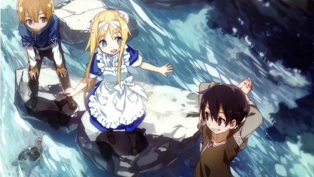 Кирито, Алиса и Юдзио в детсве